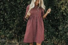06 a burgundy and white plaid over the knee dress with short sleeves, amber booties for a transitional period