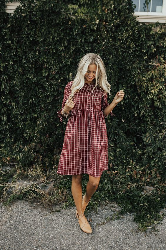 a burgundy and white plaid over the knee dress with short sleeves, amber booties for a transitional period