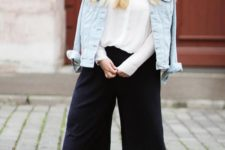 06 black  culottes, a white shirt, a denim jacket, nude sandals for a casual work or just casual look