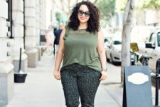 07 a green top, printed pants and black strappy shoes for a casual work look