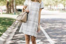 07 a neutral plaid dress, platform lace up shoes and a neutral bag