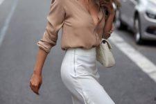 07 a nude silk shirt, a white midi skirt with ruffles and a creamy crossbody
