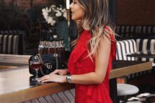 07 a red sleeveless ruffled mini dress will  work both for a date and for a night out
