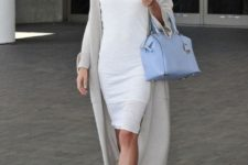 07 a white bodycon knee dress, a grey long cardigan, neutral shoes and a blue bag for the office