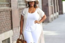 07 a white top and ripped jeans, a neutral duster, a hat, camel strappy sandals and a bag