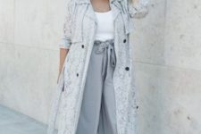 07 a white top, grey culottes, a grey lace duster, blush shoes for a relaxed look