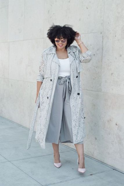 a white top, grey culottes, a grey lace duster, blush shoes for a relaxed look