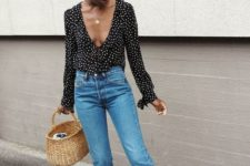 07 blue cropped jeans, a polka dot black and white ruffled blouse, lace up shoes and a basket