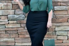 08 a black pencil skirt, a forest green printed shirt, black shoes and a small clutch