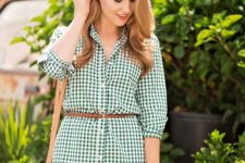 08 a green and white plaid shirtdress with a belt, a wicker bag for a chic look