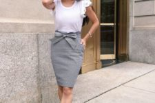 08 a grey pencil skirt, a white ruffled sleeve top and anude shoes for a summer work look