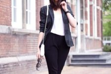 08 a white top, a plaid blazer, white ankle strap shoes and black pants for a cool look