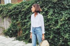 transitional outfit with cropped jeans