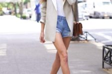 08 blue denim shorts, a white tee, an off-white jacket, off-white booties and a bag