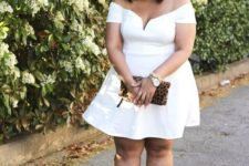 08 style a white off the shoulder knee dress with nude heels and a clutch for a date
