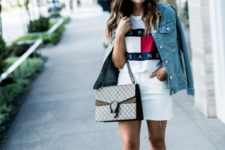 layered look with a denim jacket