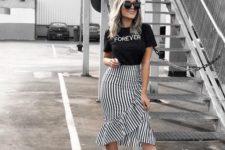 09 a black tee, a striped ruffled midi skirt, polka dot strappy heels