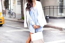 09 a chambray shirtdress, laser cut shoes, a white jacket and a striped bag