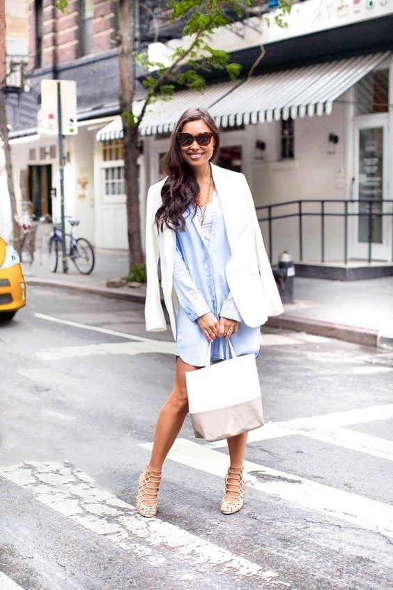 a chambray shirtdress, laser cut shoes, a white jacket and a striped bag