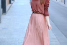 09 a pink pleated midi skirt, a muted burgundy long sleeve, nude flats for a simple look