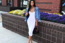 09 a white midi bodycon dress, a denim jacket, a black bag and blush shoes