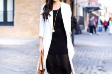 10 a black dress with a partly shee skirt, a white duster, tan shoes and a tan bag for work