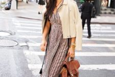 10 a pink and black chevron midi dress, creamy strappy shoes, a creamy suede jacket and a brown bag