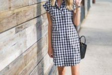 10 a plaid mini shirtdress, slipons, a hat and a black bag for an effortless look