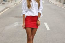 10 a white shirt, a red mini skirt, black ankle strap heels and you are done