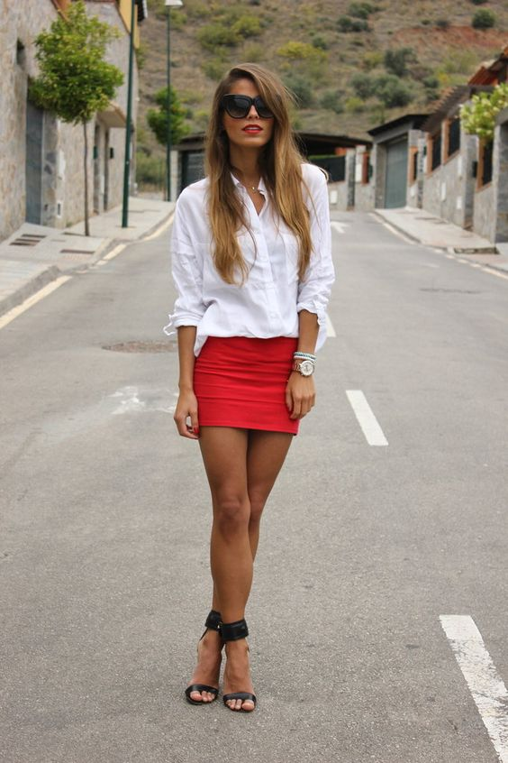 a white shirt, a red mini skirt, black ankle strap heels and you are done