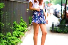 10 a white tee, a navy floral mini skirt and red ankle strap wedges for a sexy feel