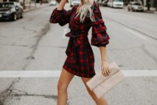 11 a plaid red and blue mini dress with creative sleeves, nude heels and a nude clutch for a wow look