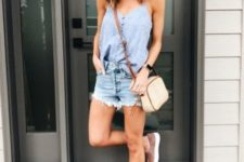 summer look with shorts and slipons