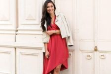 11 a red asymmetrical skirt dress, laser cut shoes and a creamy suede jacket for a date