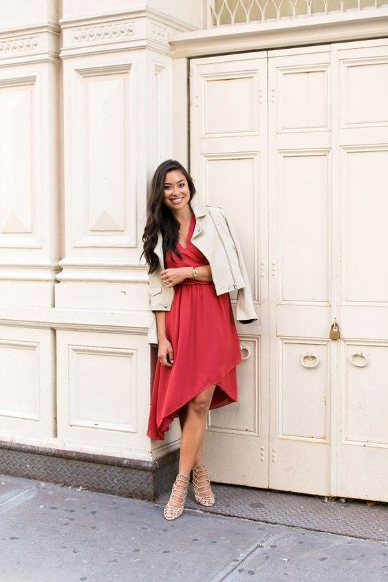 a red asymmetrical skirt dress, laser cut shoes and a creamy suede jacket for a date