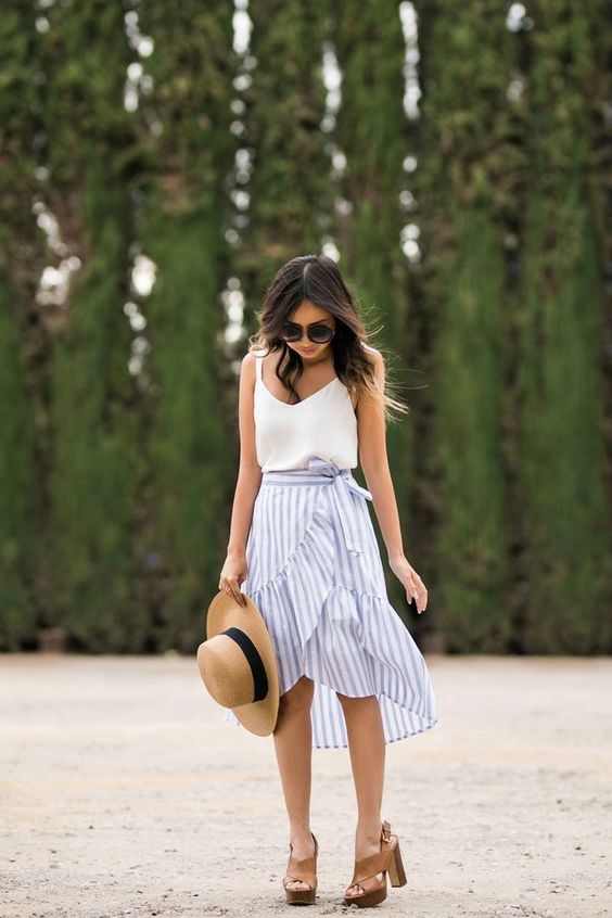 a summer look with a white spaghetti strap top, a black and white ruffle knee skirt, tan shoes and a hat