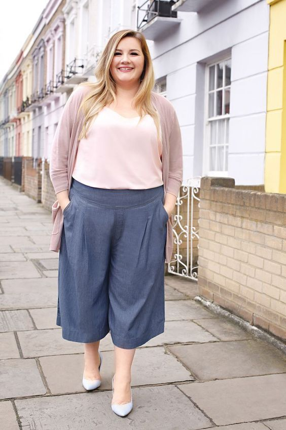 a blush top, a dusty pink cardigan, blue shoes and grey culottes for a casual outfit