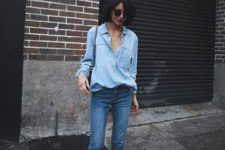 12 a double denim look with a chambray shirt, blue cropped jeans and embellished flats