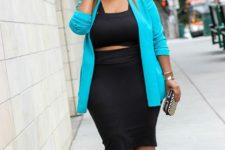 12 a party look with a two piece black dress, a turquoise jacket, turquoise and black heels