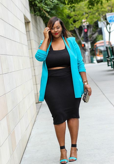 a party look with a two piece black dress, a turquoise jacket, turquoise and black heels