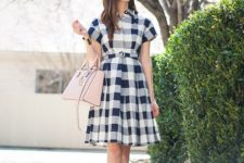 12 a vintage-inspired blue, grey and white plaid dress with short sleeves and a blush bag to wear to work