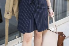 13 a navy striped shirtdress, nude shoes and a tan blazer in case it's cold