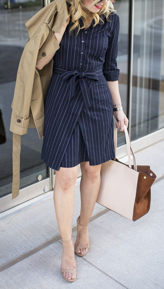 a navy striped shirtdress, nude shoes and a tan blazer in case it's cold