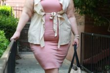 13 a pink knee dress, aneutral ruffled vest, tan shoes and a neutral bag for a girlish touch