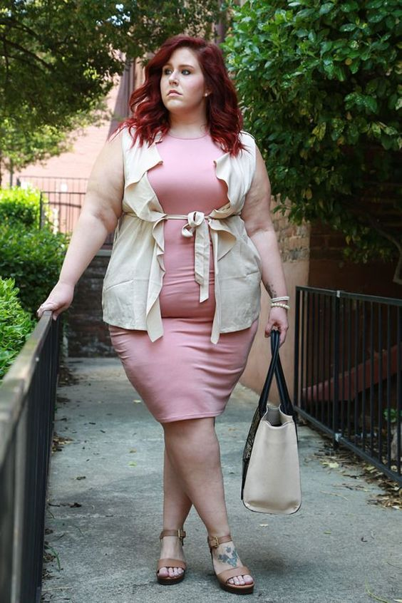 a pink knee dress, aneutral ruffled vest, tan shoes and a neutral bag for a girlish touch