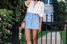 13 a striped lace up shirt, a pastel blue button down skirt, nude sandals and a tan bag
