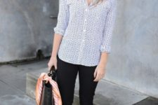 13 black cropped jeans, a polka dot blue shirt, oxfords and a black  bag
