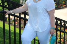 13 white leggings, a white tee,, a statement necklace, neon green shoes and a green clutch