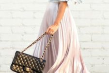 14 a striped off the shoulder top, a blush pleated midi skirt, nude shoes and a blakc bag