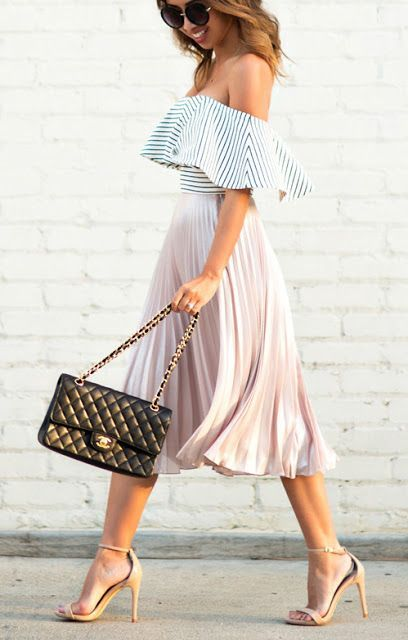 a striped off the shoulder top, a blush pleated midi skirt, nude shoes and a blakc bag